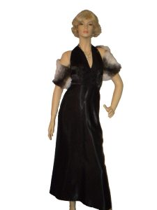 Black 1930's - 1940's costume halter dress and fur stole