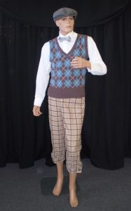 1920's-1940's golfer including knit vest. cap, bowtie and plus 4's,