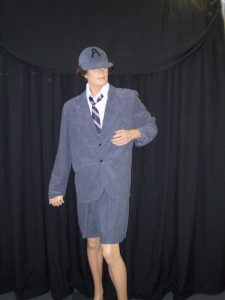 Angus Young 1980's grey velvet schoolboy costume suit