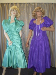 Teal and purple 80's bridesmaid style or prom dresses