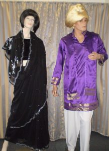 Black Bollywood Sari, Purple men's Bollywood costume with turban