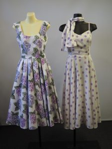 1950s fashion dresses in lavender and white