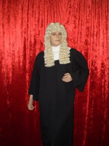 Judge costume including black judge robe, judge wig & white lace collar