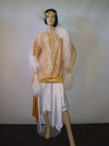 Plus size white and gold 1920's/30's dress with white feather boa, headband and beads