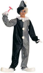 Adult black and white harlequin clown costume