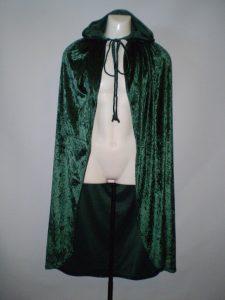 Green velvet hooded cape