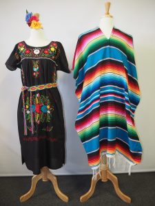 Traditional Mexican poncho and Traditional Mexican dress