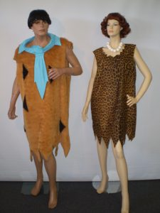 Fred and Wilma Flinstone costumes to hire from our Sydney shop.