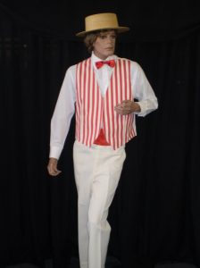 1920's barbershop or quartet or candy stripe Cream and red stripe waistcoat
