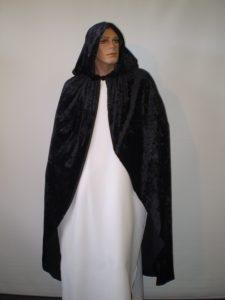 Black velvet hooded cape