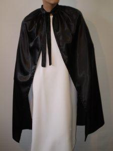 Black satin cape
