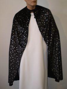 Black velvet cape with silver stars