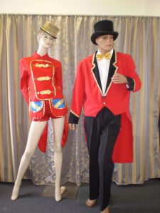 Male and female Vintage circus ringmaster costumes