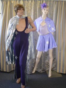 Male and Female Acrobat costumes in purple