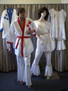 White flares and tops for Abba 1970's