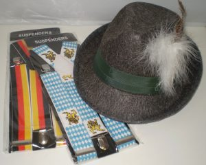 German and Austrian suspenders or braces, German men's hat