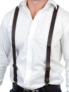 Brown leather look suspenders available to buy.