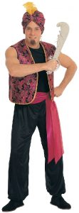 Burgundy and black men's sultan or Arabian nights costume