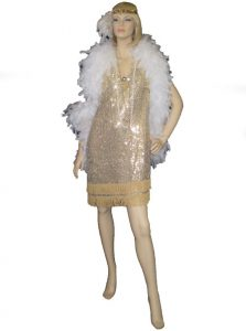 Gold 1920's dress with white boa