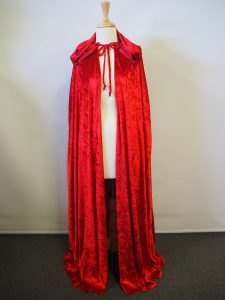 Red crushed velvet hooded cape. 145cm long. Great for Red Riding Hood costume.