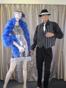 1920's pair silver sequin dress and black and white stripe waistcoat