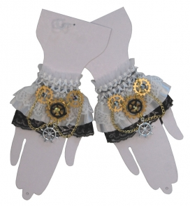 White wristlets with lace and steampunk style trim