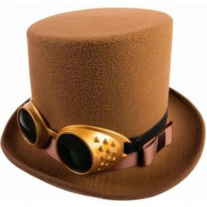 brown top hat with steampunk style goggles