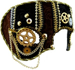 Steampunk mask, brown and black velvet trimmed with cogs, braid and chains