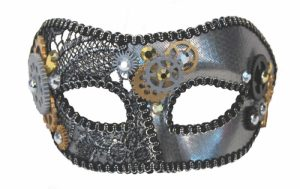 Silver cog trimmed steampunk mask