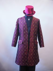 Burgundy brocade frock coat and velvet top hat