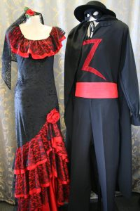 Zorro and Senorita, Spanish costumes to hire