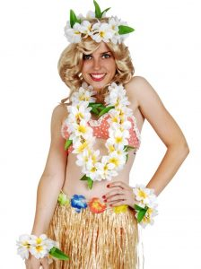 Hawaiian franipani delux flower lei set including lei, wristbands, and headband