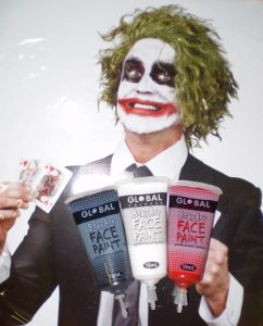 Green Joker style wig & Joker makeup facepaint