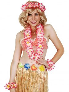 Hawaiian pink flower lei set including lei, wristbands, and headband