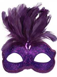 Purple party mask with feathers