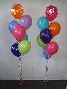 40th birthday helium balloon bouquets