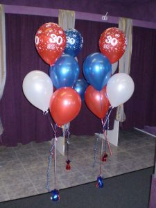 30th birthday helium balloon bouquets