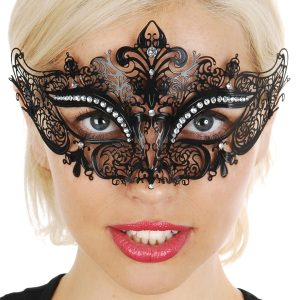 Black metal lace masquerade mask
