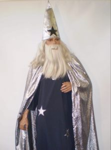 Silver & black wizard costume with hat & cape