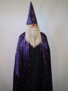 Wizard costume with purple star hat & cape