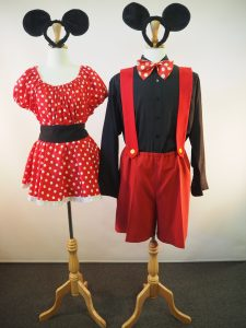 Mickey Mouse shorts & braces. Minnie Mouse skirt & top. Sydney