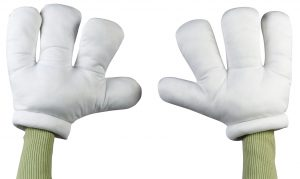 Giant cartoon hands.