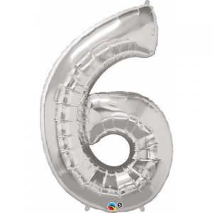 Silver number six balloon for 6th or 60th birthday party. Helium filled