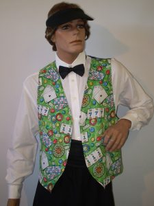 Vegas croupier costume, card printed vest and gambling visor. Vegas costumes for men or women