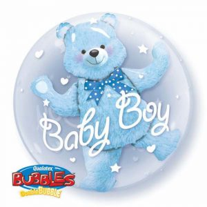 Double bubble baby boy balloon