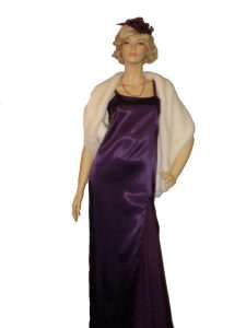 Purple 1930's - 1940's dress and white fur stole