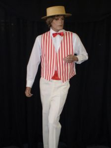 Red & white strip 1940's Barbershop Quartet costume
