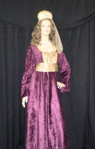 Renaissance or Tudor Dress in burgundy and gold