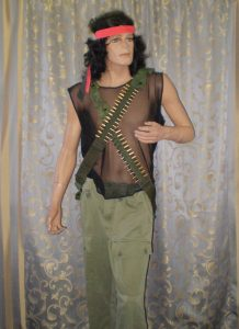Rambo movie costume including army pants, mesh top, bullet belts, wig and headband