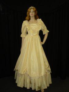 Yellow hooped crinoline dress